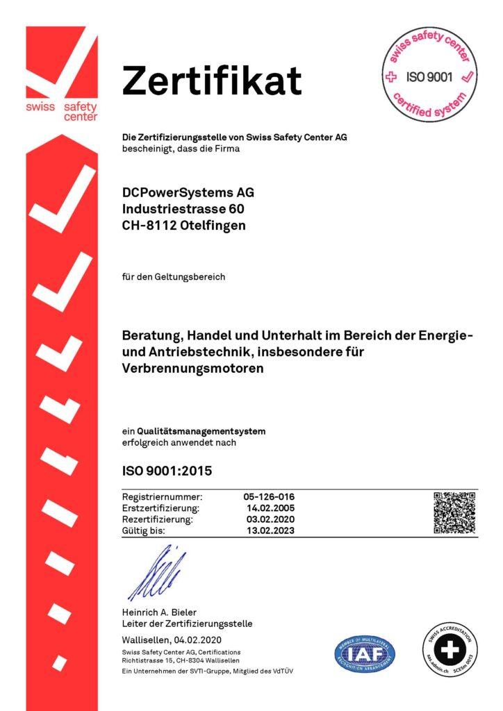 Zertifikat über die erfolgreiche Anwendung des Qualitätsmanagements nach ISO 9001:2015, gültig von 2020 bis 2023